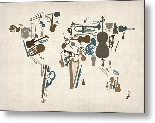World Map Metal Print featuring the digital art Musical Instruments Map of the World Map by Michael Tompsett