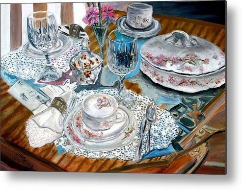 Oil Metal Print featuring the painting Oil Painting Still Life China Tea Set by Derek Mccrea