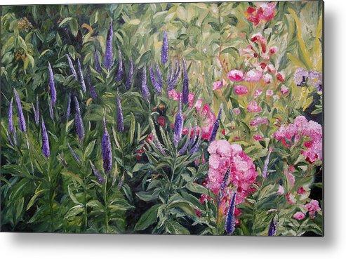 Konkol Metal Print featuring the painting Olbrich Garden Series - Garden 2 by Lisa Konkol