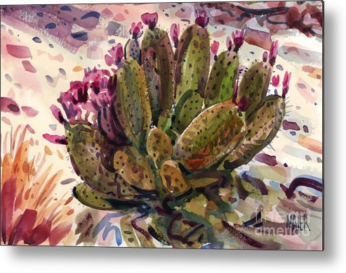 Opuntia Cactus Metal Print featuring the painting Opuntia Cactus by Donald Maier