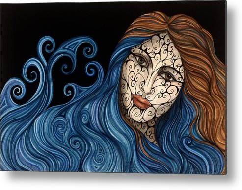 Figurative Metal Print featuring the painting Out of the Blue by Tina Blondell