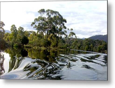 Water River Trees Reflections Patterns Swirls Metal Print featuring the photograph Patterns On Water by Bethwyn Mills