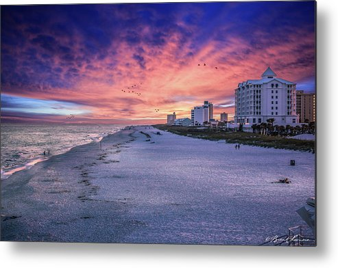 Brent Shavnore Pensacola Beach Sunset Emerald Coast Escambia County Metal Print featuring the digital art Pensacola Beach Vibrant Sunset by Brent Shavnore