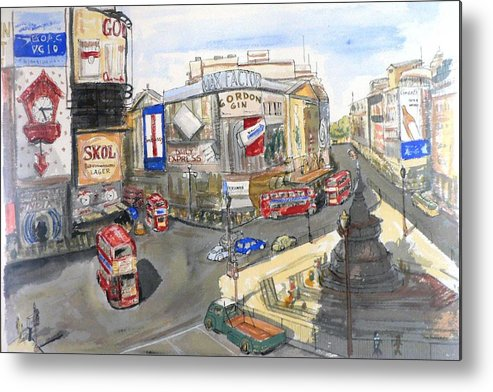 Street Scene Metal Print featuring the painting Picadilly Circus by Dan Bozich