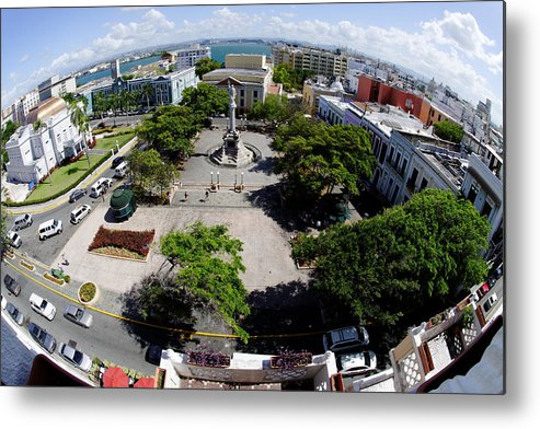 Darin Volpe Architecture Metal Print featuring the photograph Eye On Old San Juan -- Plaza De Colon In San Juan, Puerto Rico by Darin Volpe