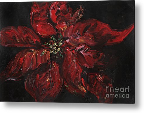 Abstract Metal Print featuring the painting Poinsettia by Nadine Rippelmeyer