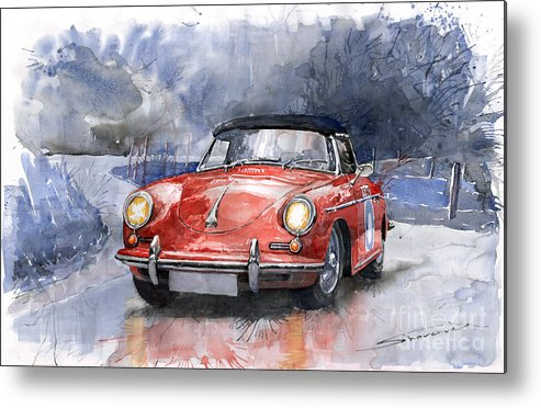 Auto Metal Print featuring the painting Porsche 356 B Roadster by Yuriy Shevchuk