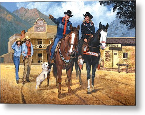 Western Metal Print featuring the painting Portrait Of Harry And Pat Bernstein by Harold Shull