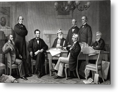 Abraham Lincoln Metal Print featuring the drawing President Lincoln and His Cabinet by War Is Hell Store