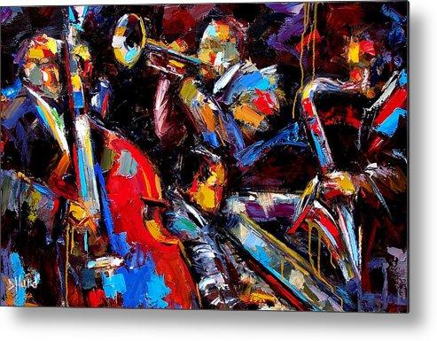 Jazz Paintings Metal Print featuring the painting Quartet by Debra Hurd