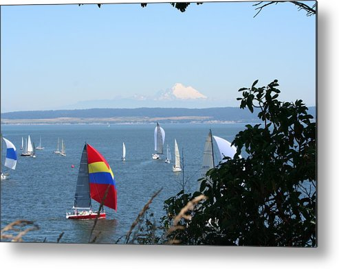 Sailboats Metal Print featuring the photograph Race Week 2008 BO1053 by Mary Gaines
