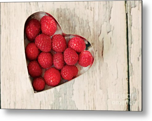 Raspberry Metal Print featuring the photograph Raspberry Heart by Kim Fearheiley