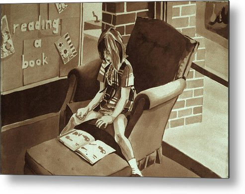 Girl Reading Book Metal Print featuring the painting Reading Corner by Judy Swerlick