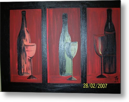 Stilllife Metal Print featuring the print Red wine by Martha Mullins