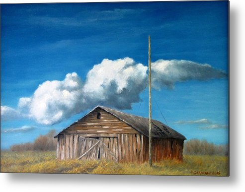 Landscape Metal Print featuring the painting Reflection of the Past 2 by Boris Garibyan
