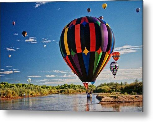 Nature Metal Print featuring the photograph Rio Grande Splash Down, New Mexico by Zayne Diamond Photographic