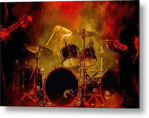 Rock And Roll Drum Solo # Rock And Roll # Drum Set # Rock And Roll Drum Paintings # Abstract Music Art # Zildjian # Drum Solo Painting # Concert # Smoke # Fog # Metal Print featuring the digital art Rock And Roll Drum Solo by Louis Ferreira