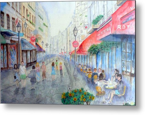 Late Afternoon Streetscape Metal Print featuring the painting Rue Montorgueil Paris Right Bank by Dan Bozich