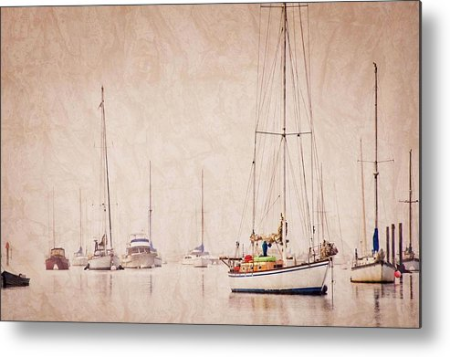 Sailboats Metal Print featuring the photograph Sailboats in Morro Bay Fog by Zayne Diamond Photographic
