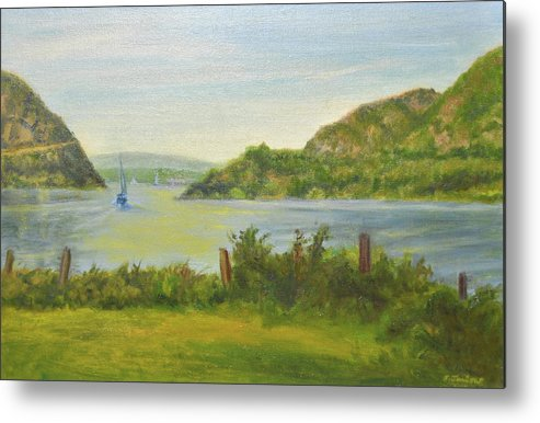 Landscape Metal Print featuring the painting Sailing Past Cold Spring by Phyllis Tarlow