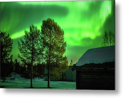 Landscape Metal Print featuring the photograph Sapmi Outdoor Museum Under The Northern Lights Karasjok Norway by Adam Rainoff