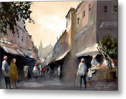 Market Metal Print featuring the painting Saturday Morning by Charles Rowland