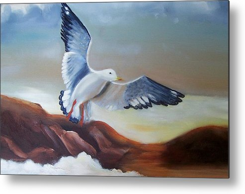 Birds Metal Print featuring the painting Seagull Landing by Martha Mullins
