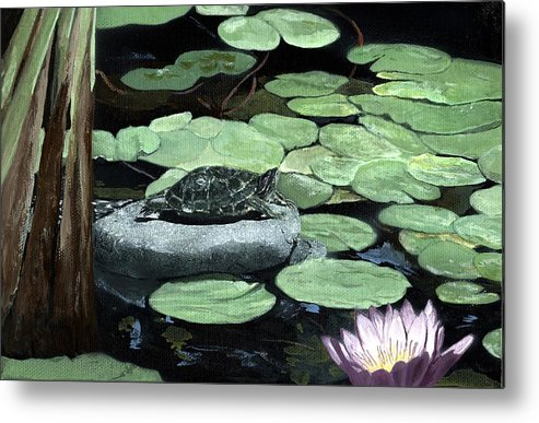 Turtle Metal Print featuring the painting Sherman Garden Turtle by Charles Parks