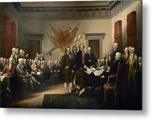 Declaration Of Independence Metal Print featuring the painting Signing The Declaration Of Independence by War Is Hell Store