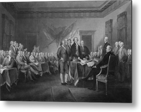 Declaration Of Independence Metal Print featuring the mixed media Signing The Declaration Of Independence by War Is Hell Store