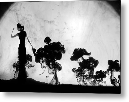 Surreal Metal Print featuring the photograph Silhuettes in moonlight by Floriana Barbu