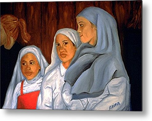 Portrait Metal Print featuring the painting Sit Up Straight Girls by Alima Newton