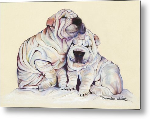 Dog Painting Metal Print featuring the pastel Snuggles by Pat Saunders-White