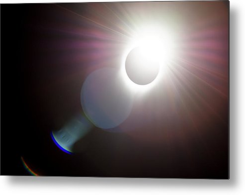 Darin Volpe Nature Metal Print featuring the photograph Solar Flare -- 2017 Solar Eclipse In Independence, Oregon by Darin Volpe