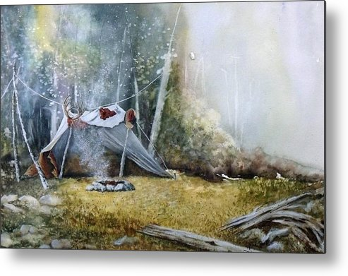 Tent Metal Print featuring the painting Spike Camp by Lynne Parker