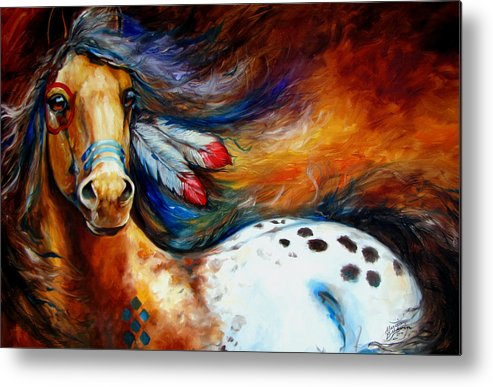 Horse Metal Print featuring the painting Spirit Indian Warrior Pony by Marcia Baldwin