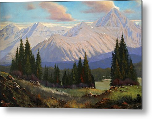 Landscape Metal Print featuring the painting Spring On The Dallas Divide 070809-3624 by Kenneth Shanika