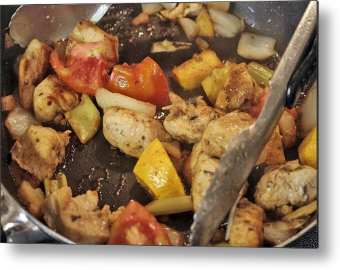 Meat Metal Print featuring the photograph Steamy Stirfry by Linda A Waterhouse