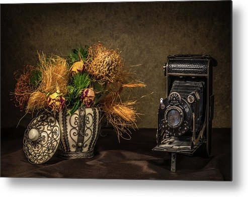 Still Life Metal Print featuring the photograph Still Life with Flowers and Camera by Wim Lanclus