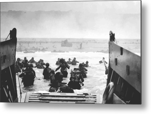 D Day Metal Print featuring the painting Storming The Beach On D-Day by War Is Hell Store
