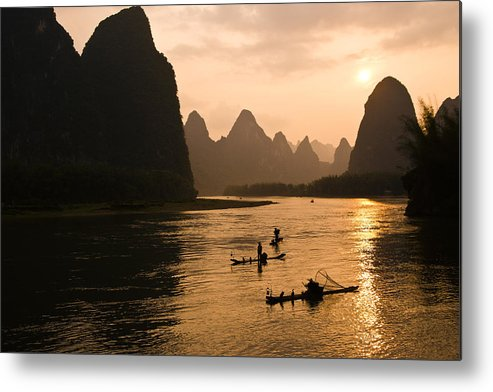 Asia Metal Print featuring the photograph Sunset on the Li River by Michele Burgess