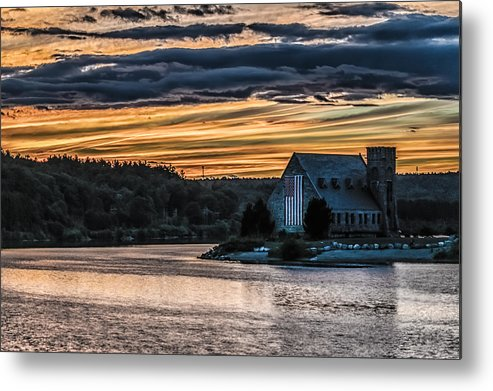 Landscape Metal Print featuring the photograph Sunset on The Old Stone Church by Bob Bernier