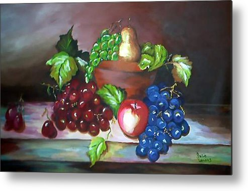 Still Life Metal Print featuring the painting Terra Cotta bowl by Julie Lamons