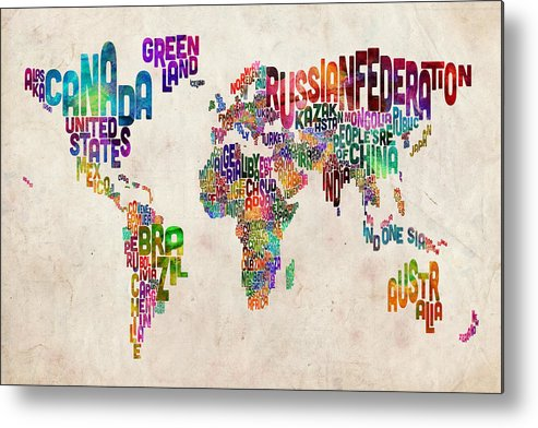 Map Of The World Metal Print featuring the digital art Text Map of the World by Michael Tompsett