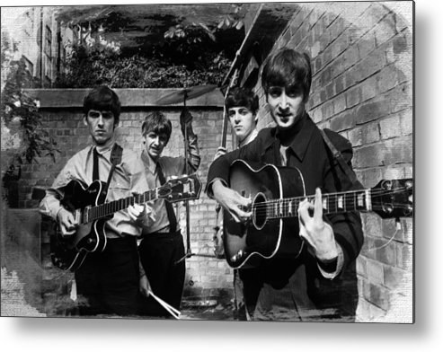 The Beatles Metal Print featuring the painting The Beatles In London 1963 Black And White Painting by Tony Rubino
