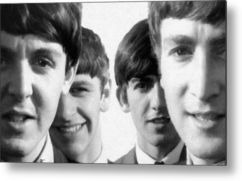 The Beatles Metal Print featuring the painting The Beatles Painting 1963 Black And White by Tony Rubino