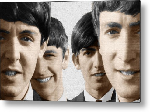 The Beatles Metal Print featuring the painting The Beatles Painting 1963 Color by Tony Rubino