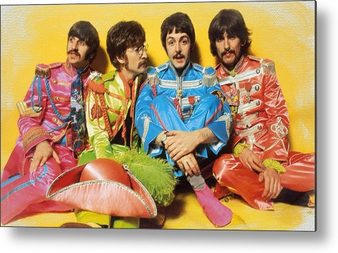 The Beatles Metal Print featuring the painting The Beatles Sgt. Pepper's Lonely Hearts Club Band Painting 1967 Color by Tony Rubino