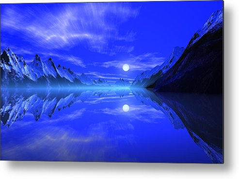 David Jackson The Fiords Of Thor Alien Landscape Planets Scifi Metal Print featuring the print The Fiords of Thor. by David Jackson