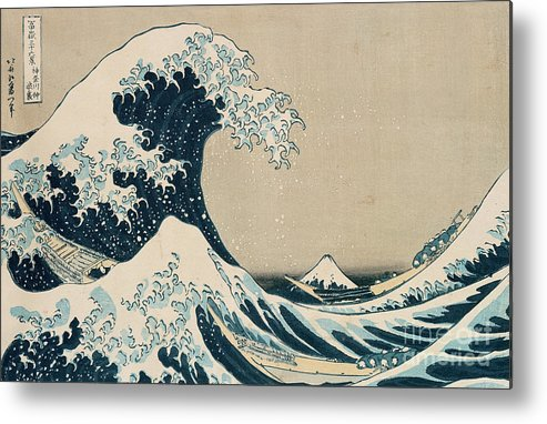 Wave Metal Print featuring the painting The Great Wave of Kanagawa by Hokusai